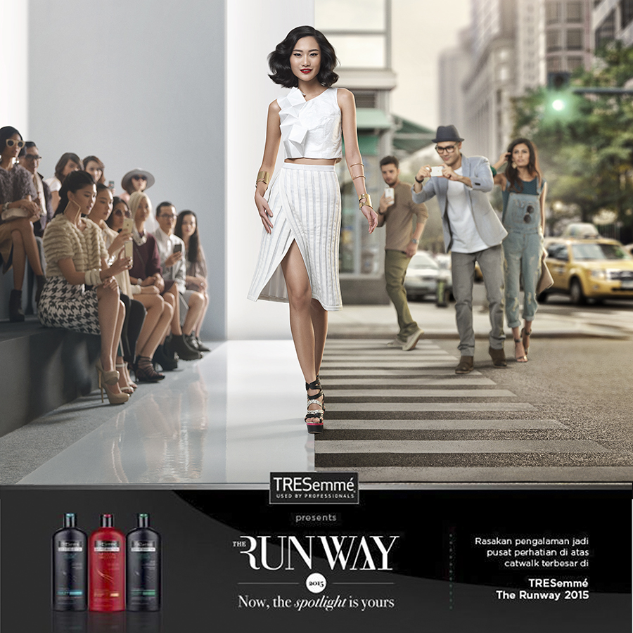 Doing hairstyling for Extra talent TRESEmme Runway
